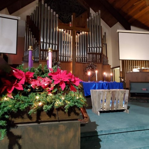 bright Christmas decor in the chancel area
