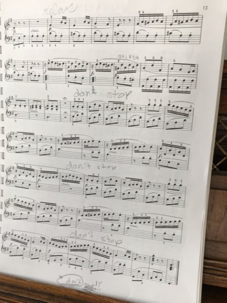 music score with writing